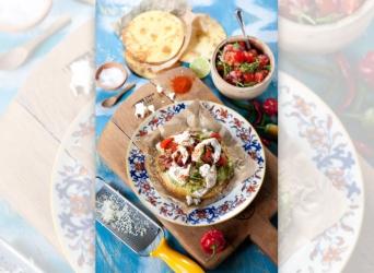 Tostadas with Golden Salsa Cruda and Guacamole