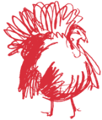 turkey illustration in red